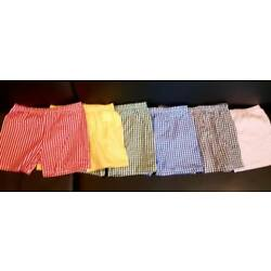 gingham shorts fitted school boxer modesty pants summer dress yellow blue