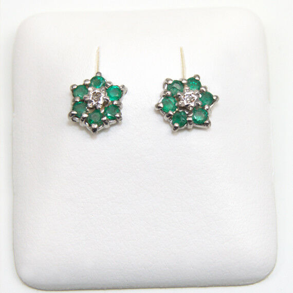 ade1f1284 Details about Emerald & Diamond Cluster Stud Earrings Yellow/White/Rose 9ct  Gold (ER10E)