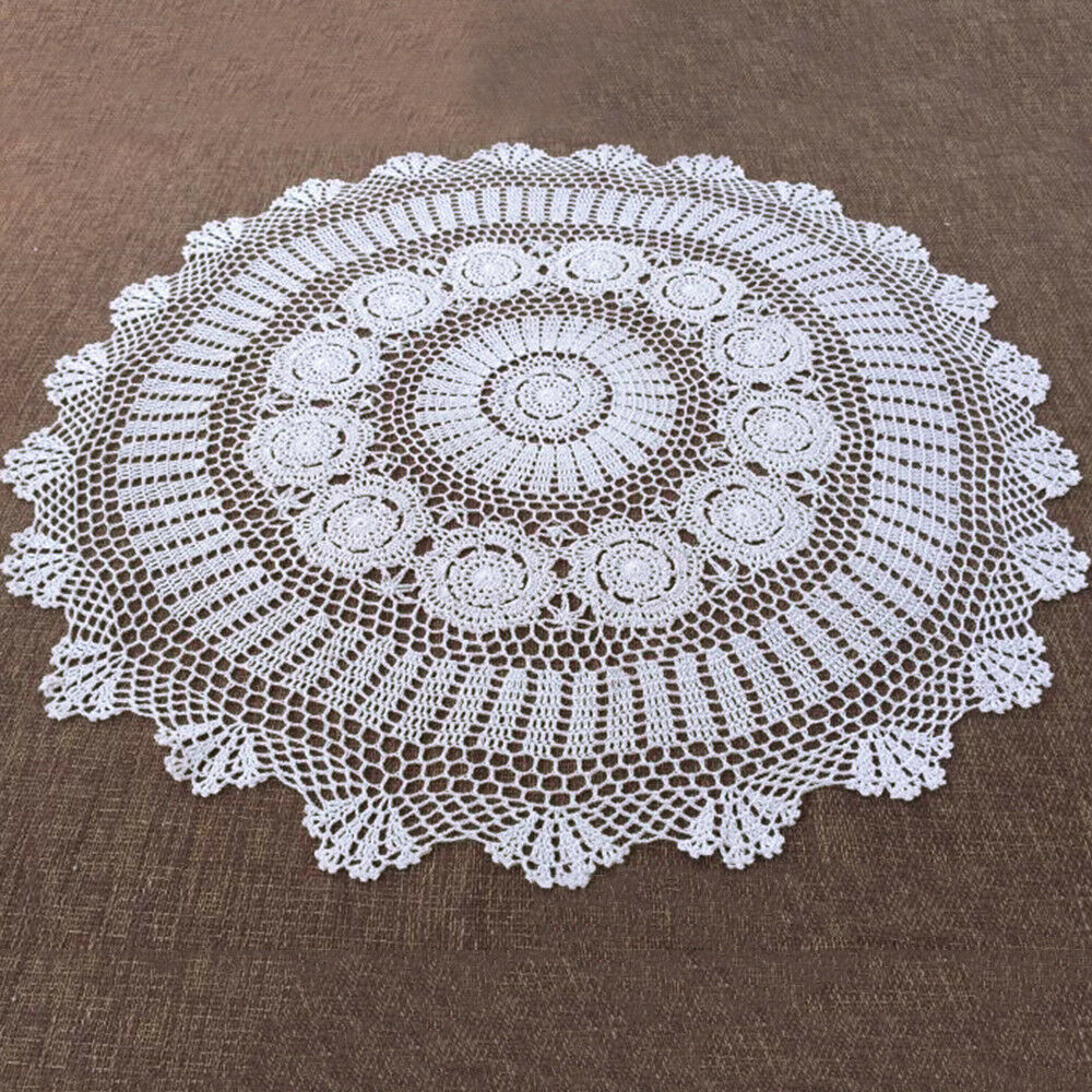 White Hand Crochet Table Clothtopper Round Tablecloth Vintage Lace