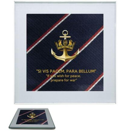 img-Royal Navy Premium Drinks Mug Coaster Crown and Anchor Badge on Royal Navy Tie