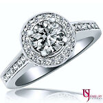 Halo Setting Round Cut Diamond Engagement Ring 18k Gold 1.62 Carat (1.00) F/VS2