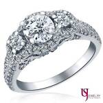 Natural Past Present Future 1.34 Ct Round Diamond Engagement Ring 14K Gold F/VS1