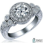 REAL ROUND DIAMOND ENGAGEMENT RING VINTAGE 14K WHITE GOLD 1.74 CT (1.17) F/VS1