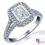 Radiant Cut 1.67 Carat Diamond Engagement Ring 18K White Gold Split Band F/SI2