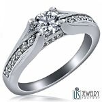 0.85 CT (0.55) E-SI 100% NATURAL ROUND CUT DIAMOND ENGAGEMENT RING PAVE SET 14K