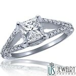 Princess Cut Diamond Engagement Ring 14k Gold Filigree Split Band 1.24 ct (0.76)