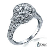 Natural Round Diamond Engagement Ring 14k White Gold 1.37 ct (0.60) F-SI1/SI2
