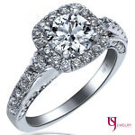 Halo Set 2.13 Carat (1.04) F-VS2/SI-1 Round Cut Diamond Engagement Ring 14k Gold