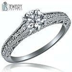 Natural Round Diamond Engagement Ring 0.95ct (0.55) E-SI Milgrain Edged 14k Gold