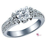 Natural 1.72 Ct (1.02) G/H-SI1 Round Cut Diamond Engagement Ring 14K White Gold