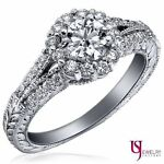 Real Diamond Promise Ring Vintage Jewelry 14k White Gold 1.04 Carat (0.51)G/SI1