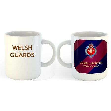 img-NEW Welsh Guards Ceramic Mug with regimental badge on Brigade Tie colours