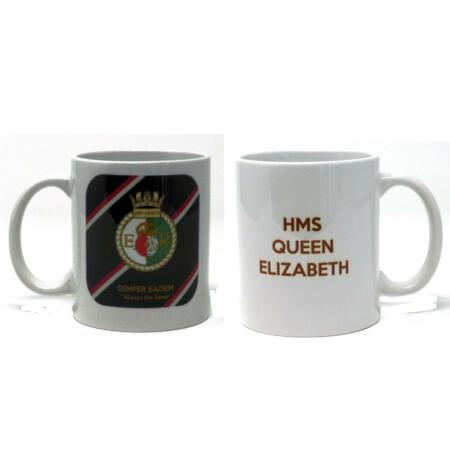 img-HMS Queen Elizabeth Aircraft Carrier Ceramic Mug Ship's Badge on Royal Navy Tie