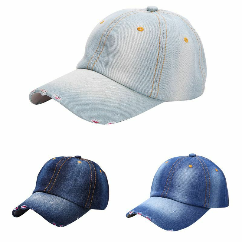 UK Men s Women s Sports Hat Casual Denim Baseball Ball Cap Sun Plain Jeans  Hats  4fe1da353f5
