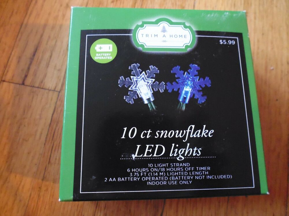 10 Ct LED Battery Operated Christmas Lights Battery