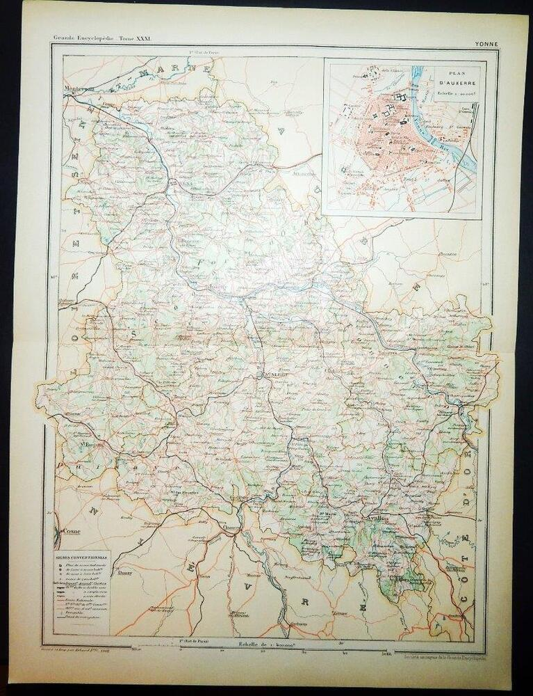 Map Of Yonne France.1902 Antique Print Colour Map Of Yonne France French Carte Ebay