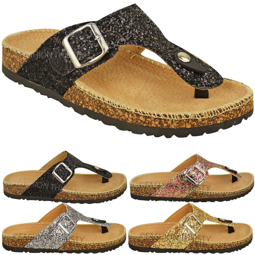 4a88b4323057f Details about LADIES WOMENS FLAT SANDALS GLITTER FLIP FLOPS SLIP ON TOE  POST THONG GRIP SIZE