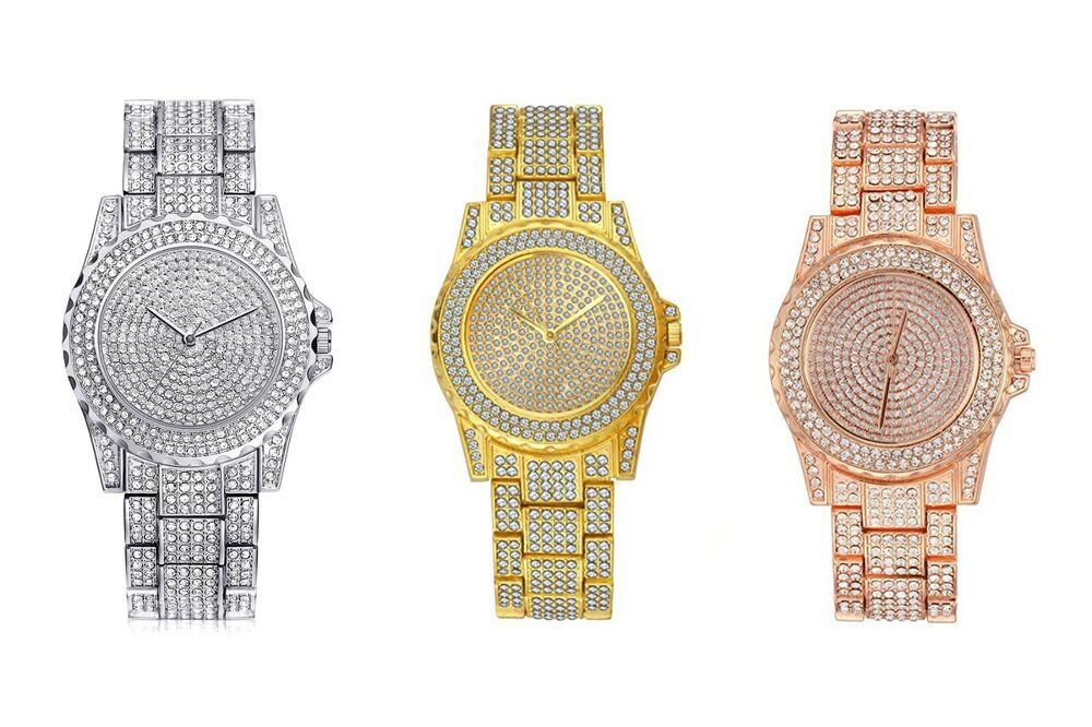 Hip Hop Iced Out Gold Tone Techno Pave Watch Simulated Crystal Ebay