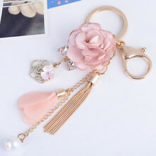 Gifts Bag Crystal Bow Rose Flowers Pendant Key Ring Keychain Tassel Key Chain