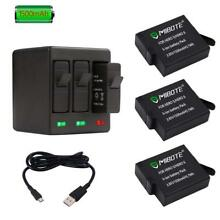 GoPro Hero 6 Black 3 x Replacement Battery 1500mAh And 3-Channel Charger