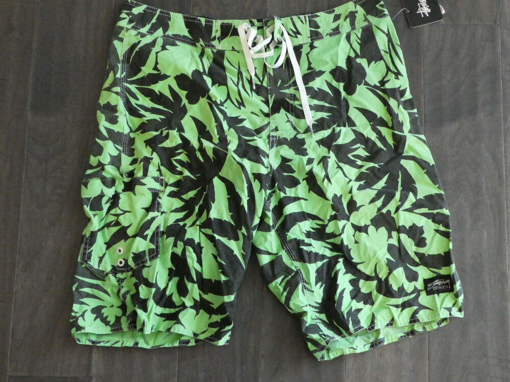 580ceb3990 Details about Stussy Palm long Board shorts swim trunks surf new new men's  101461 green black