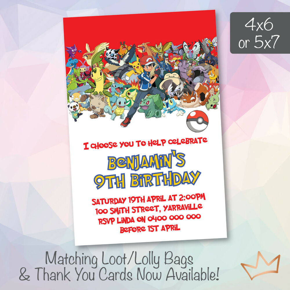 Details About Personalised Pokemon Go Birthday Invitations Party Pikachu Invites