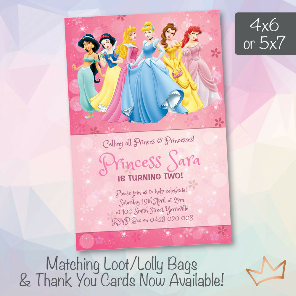 Details About Personalised Disney Princess Birthday Invitations Princesses Party Invites