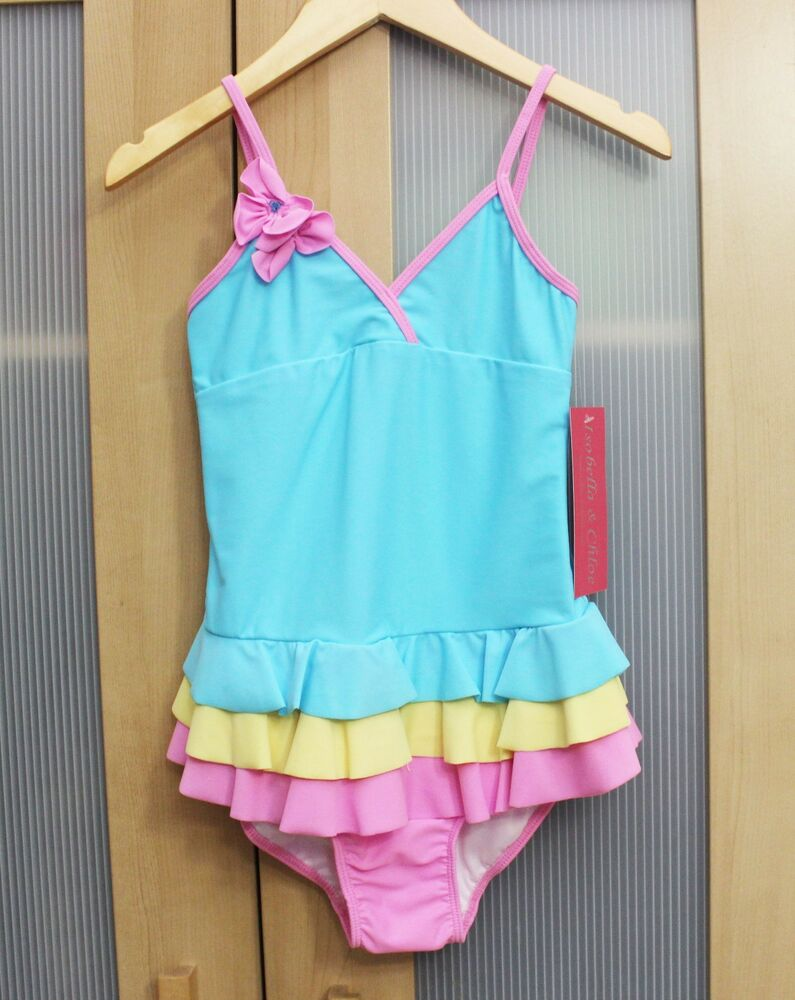 6872643946 Details about NWT Isobella and Chloe Girls Ruffle Swimsuit in Aqua/Pink/ Yellow ~ Size 7