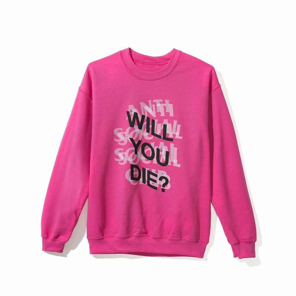 buy online e910f 2c5b6 Details about DS Anti Social Social Club ASSC logo WYD Pink Crewneck  sweater in hand Supreme