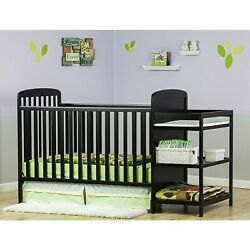 Dream On Me, Anna 4 in 1 Full Size Crib and Changing Table Combo Black