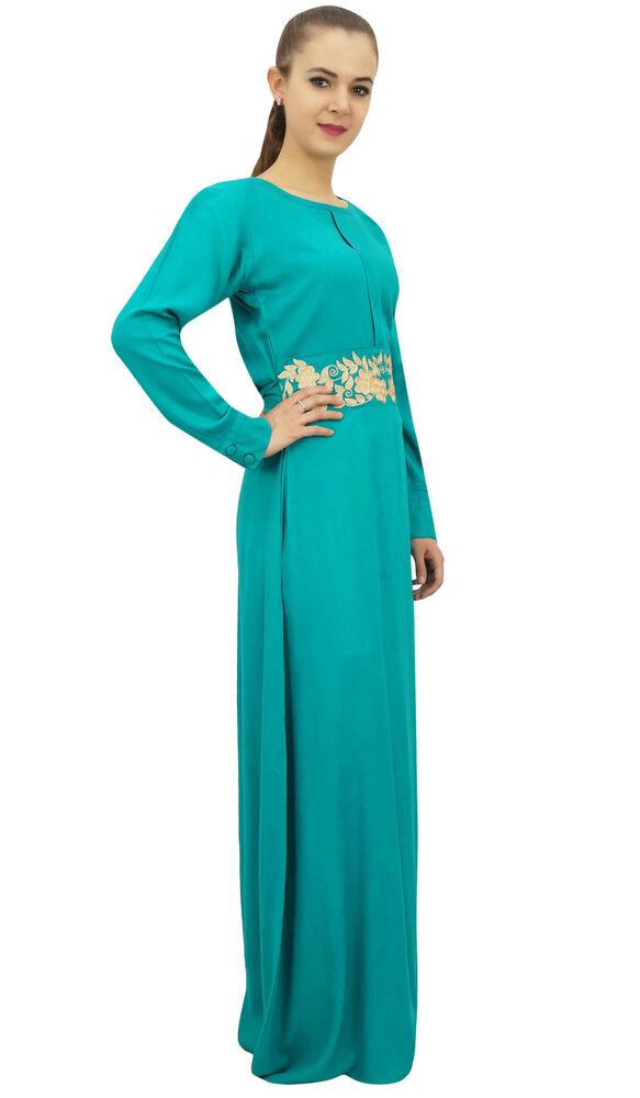 0fba8263442 Details about Bimba Women s Full Sleeve Dress Turquoise Casual Rayon Muslim Maxi  Dresses