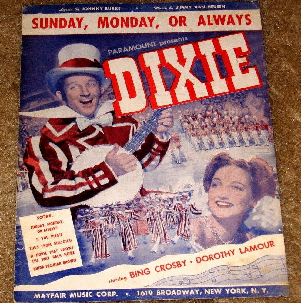 My Bing History: VINTAGE SUNDAY, MONDAY, OR ALWAYS FEATURING BING CROSBY