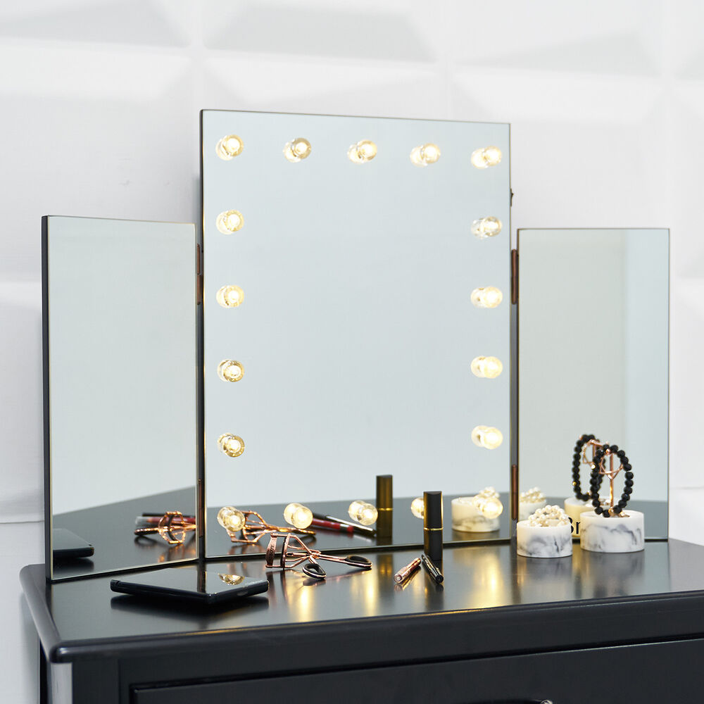 Glass Glamour Led Light Dressing Table Vanity Make Up Tri