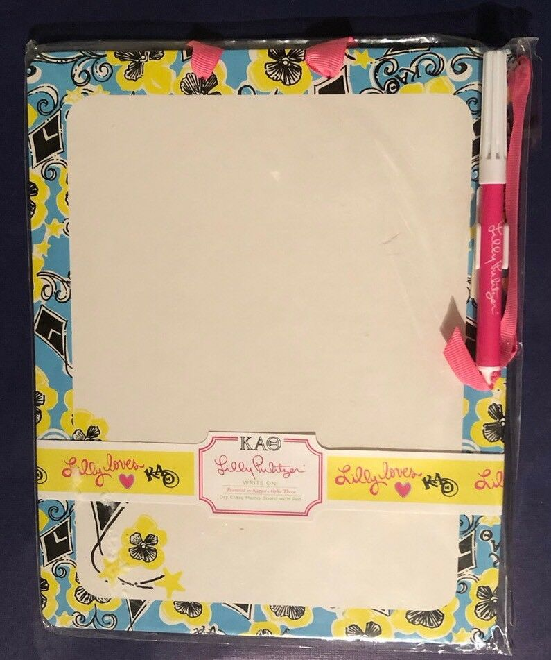 NIP LILLY PULITZER Kappa Alpha Theta Sorority Dry Erase WRITE ON Simple Lilly Pulitzer Memo Board