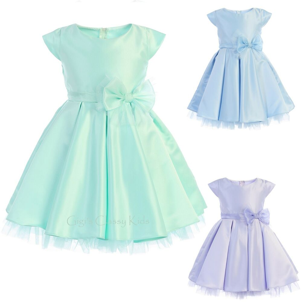 d9465b79f Details about New Flower Girls Satin Tulle Pleated Dress Wedding Easter  Fancy Party Baby 711