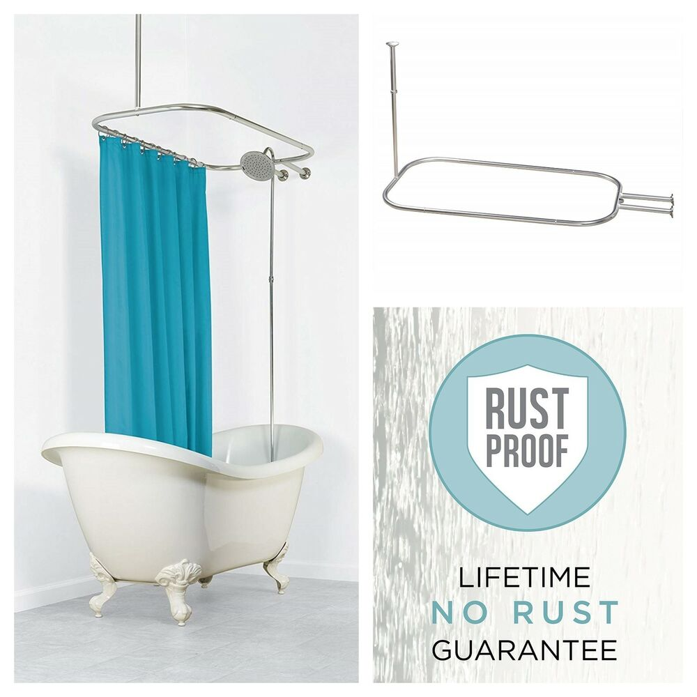 Details About Claw Foot Tubs Hoop Shower Curtain Rod Aluminum Rust Proof Bathroom Ring