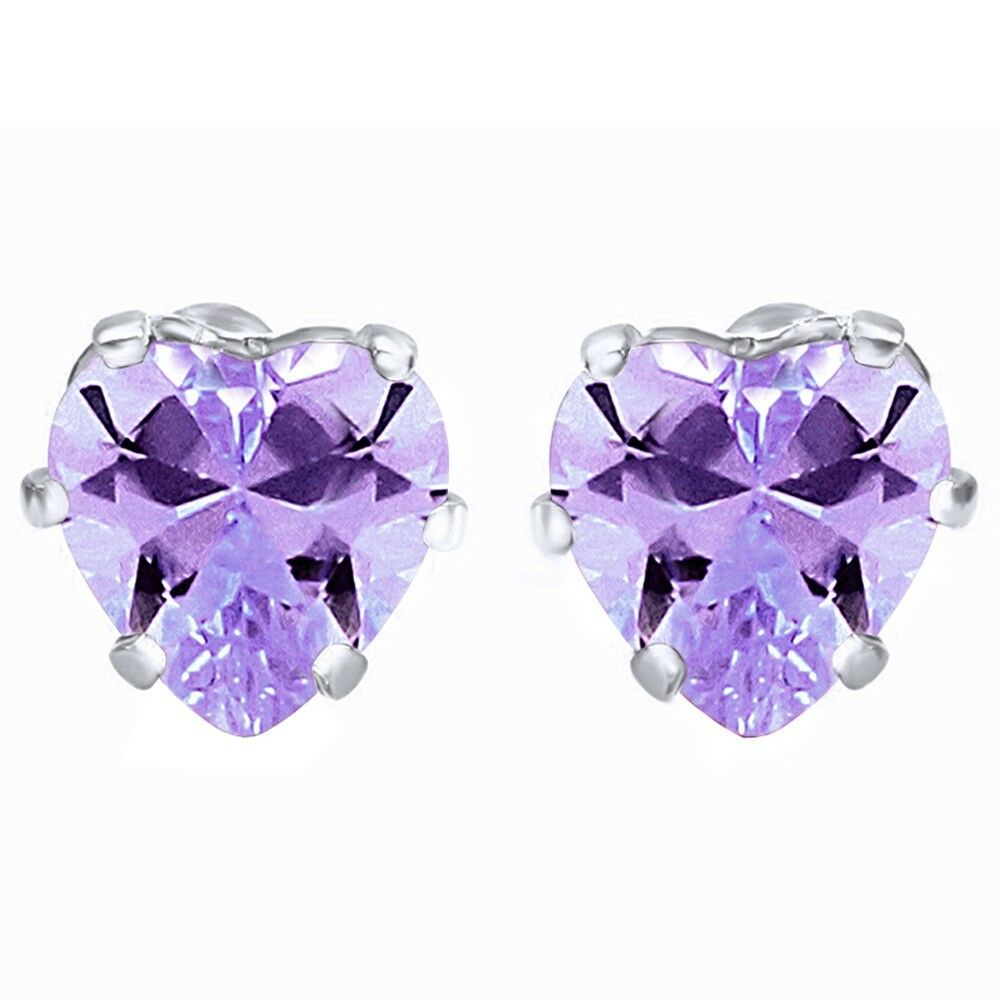 Details About Basket Heart Alexandrite Stud Earrings 14k White Gold Rhodium Plated 8mm