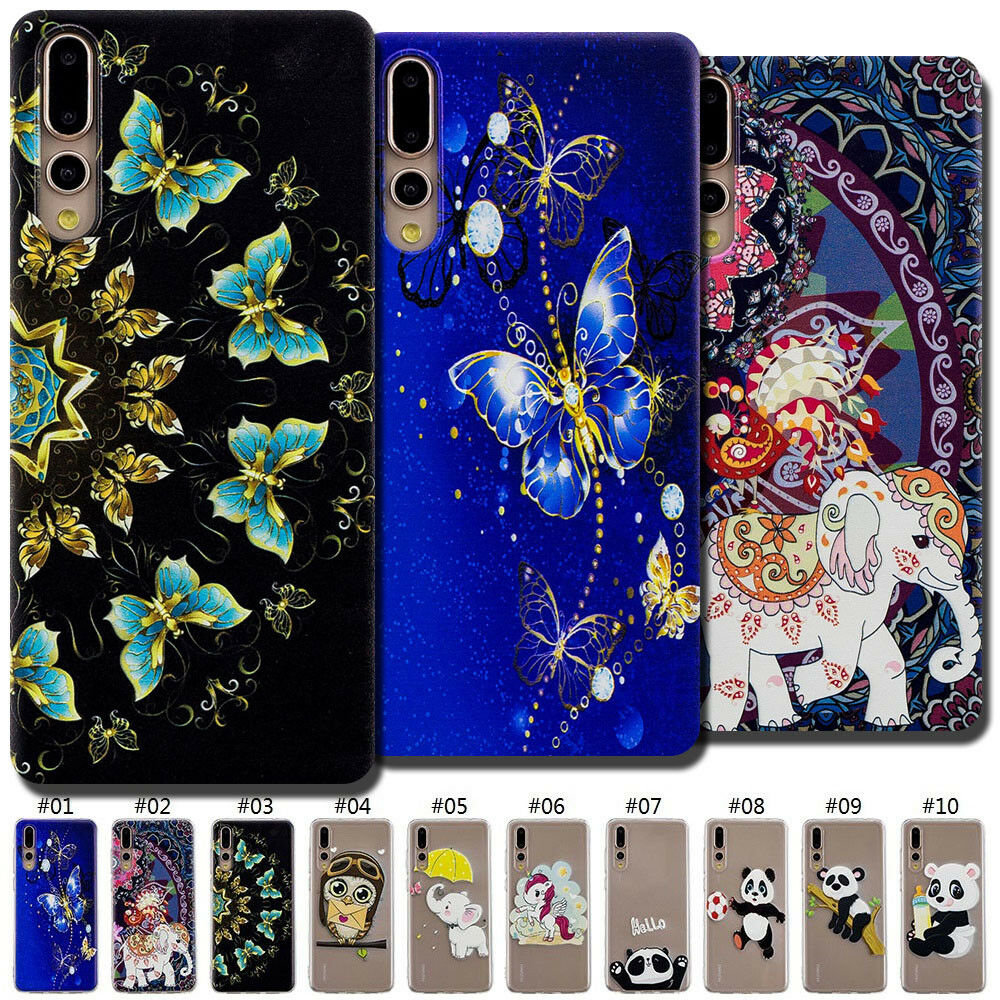 For iPhone 6//6s//7//7PLUS HUAWEIP10 3D Embossed TPU Soft Back Case Cover Skin