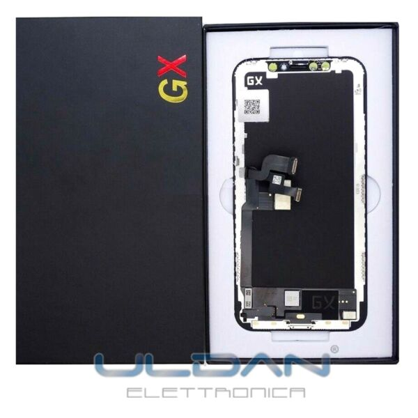 DISPLAY LCD APPLE IPHONE X GX OLED FRAME PER TOUCH SCREEN VETRO SCHERMO NERO