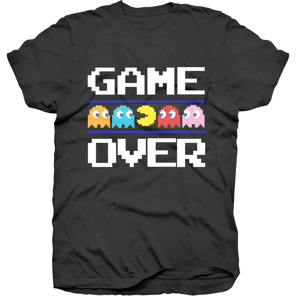 9726a813eb2 Details about Pac-Man Game Over Classic Official Pacman Namco Arcade Game  Black Mens T-shirt