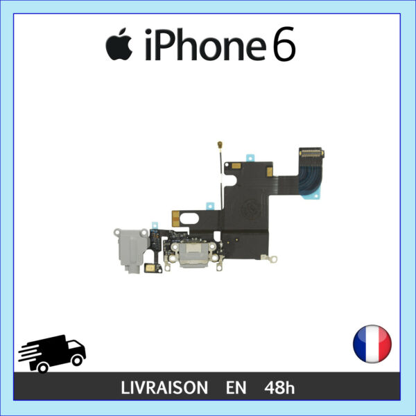 NAPPE CONNECTEUR CHARGE PORT LIGHTNING JACK MICRO REMPLACEMENT IPHONE 6 NOIR