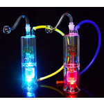 "LED Glass Bong Mini Dabber Rig 5"" Water Pipe 10mm Joint Portable Bubbler"