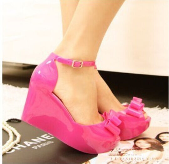 73290b241849 Details about Cute Women s Jelly sandals Bowknot summer wedge open toe platform  sandals Shoes