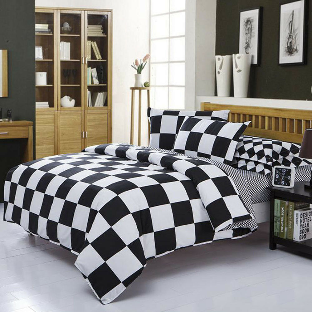 Black White Striped Bed Flat Sheets Full Queen Duvet Cover Bedding