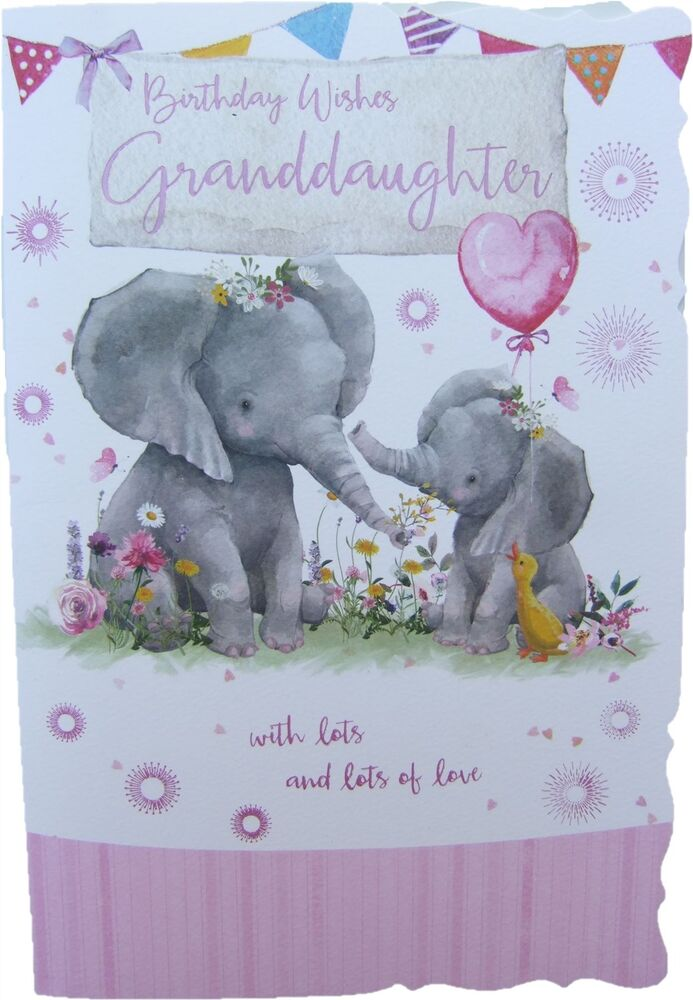 Birthday Wishes Card With Elephants For GRANDDAUGHTER By Out Of The Blue 5056179717923