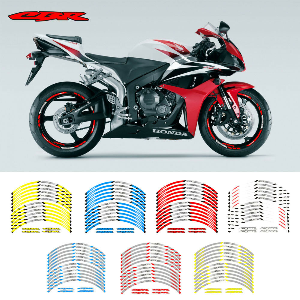 Details about motorcycle rim 17 stripes wheel decals tape stickers for honda cbr