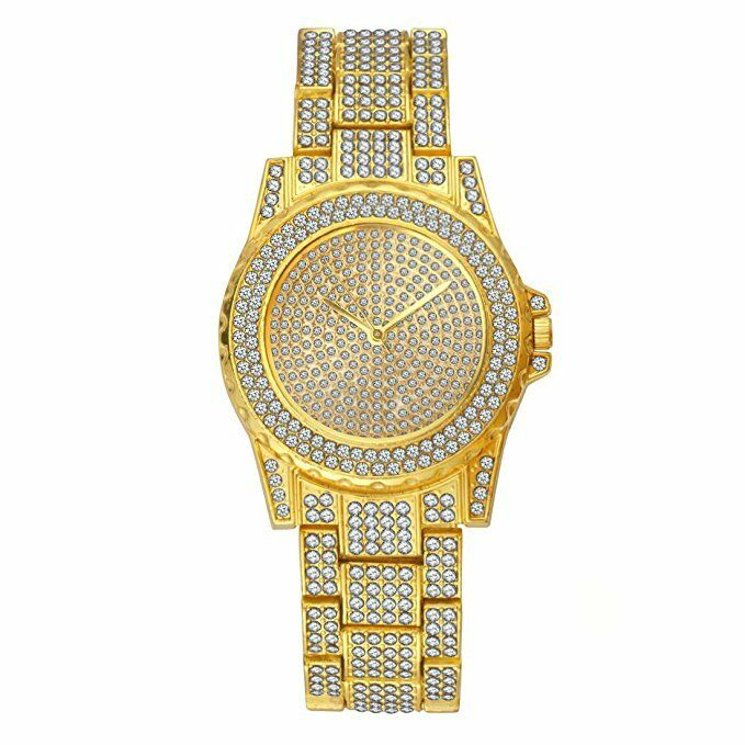 Men Hip Hop Iced Gold Tone Techno Pave Bling Rapper Watch Simulated