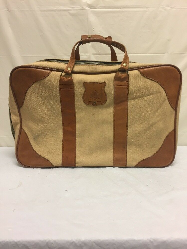 Vintage Oleg Cassini Canvas & Brown Leather Luggage | eBay