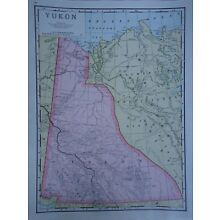Vintage 1952 YUKON - DAWSON Map ~ Authentic Original 60 Year Old Atlas Map 72818