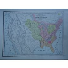 Vintage 1952 AMERICAN INDIAN NATIONS Map ~ Authentic Original 60 Year Old 72818